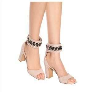 New Valentino Suede Chain Ankle-Wrap Sandals